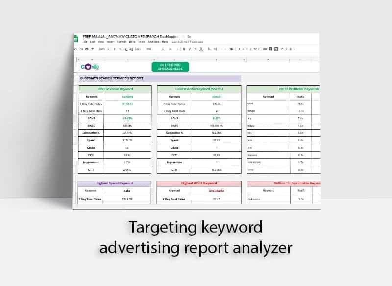 Advertising report spreadsheet analyzer fba