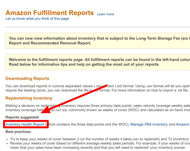 amazon fulfillment reports