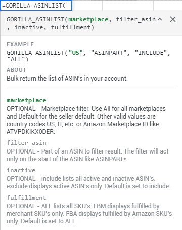 asinlist new fulfillment filter
