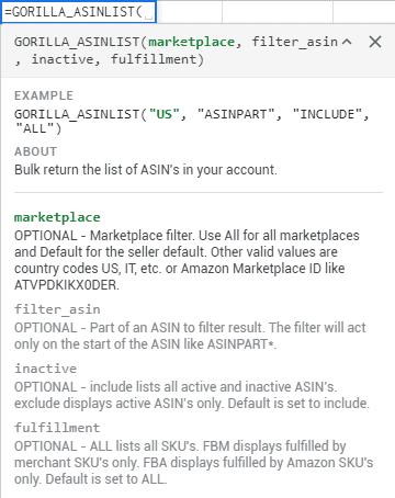 asinlist new fulfillment filter