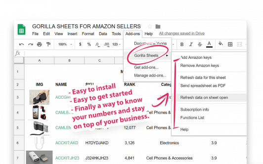 gorilla roi amazon google sheets add-on install