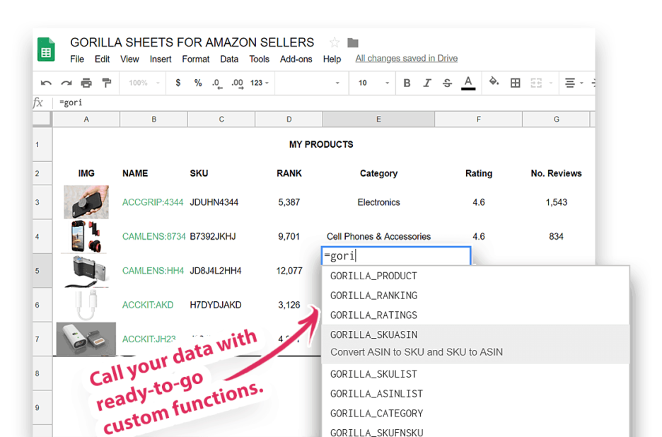 gorilla sheets functions for Amazon Seller