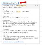 =GORILLA_ASINLIST() to bulk list your ASIN