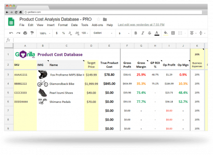 amazon product cost analysis database