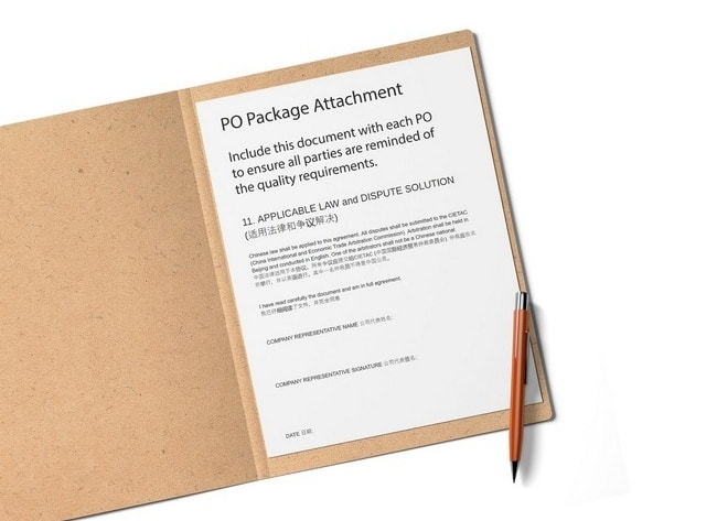 chinese english PO package for manufacturing