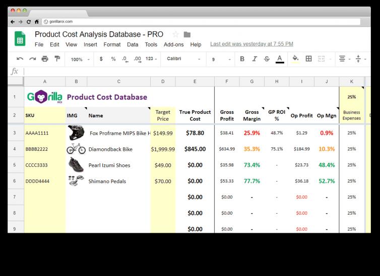 amazon product cost analysis database