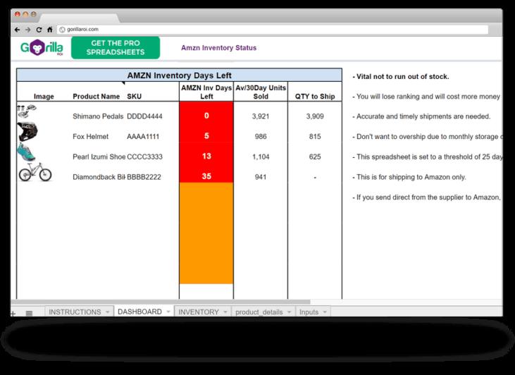 amazon inventory replenish template spreadsheet