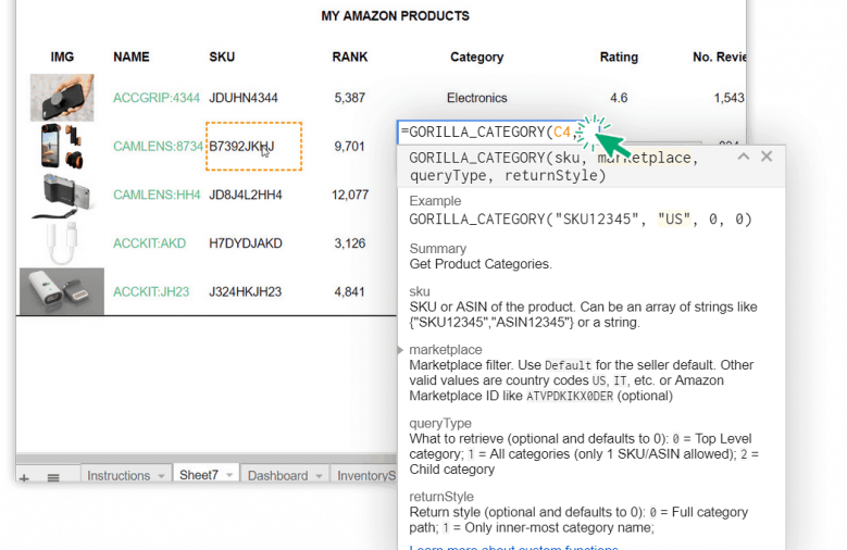 Gorilla Sheets Google Addon Function List for Amazon Seller Central Data