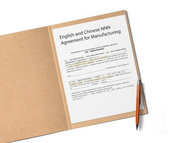 chinese english nnn agreement template