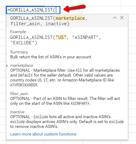 =GORILLA_ASINLIST() to bulk list your ASIN