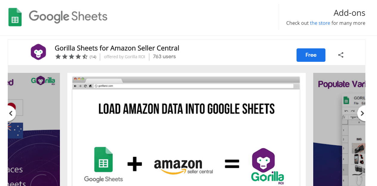 search for Gorilla ROI in any Google Sheet > menu > add-ons > get add-ons