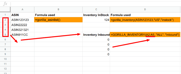 Loading FBA inbound inventory data to Sheets