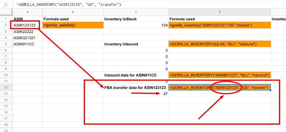 Formula to load inventory transfer numbers