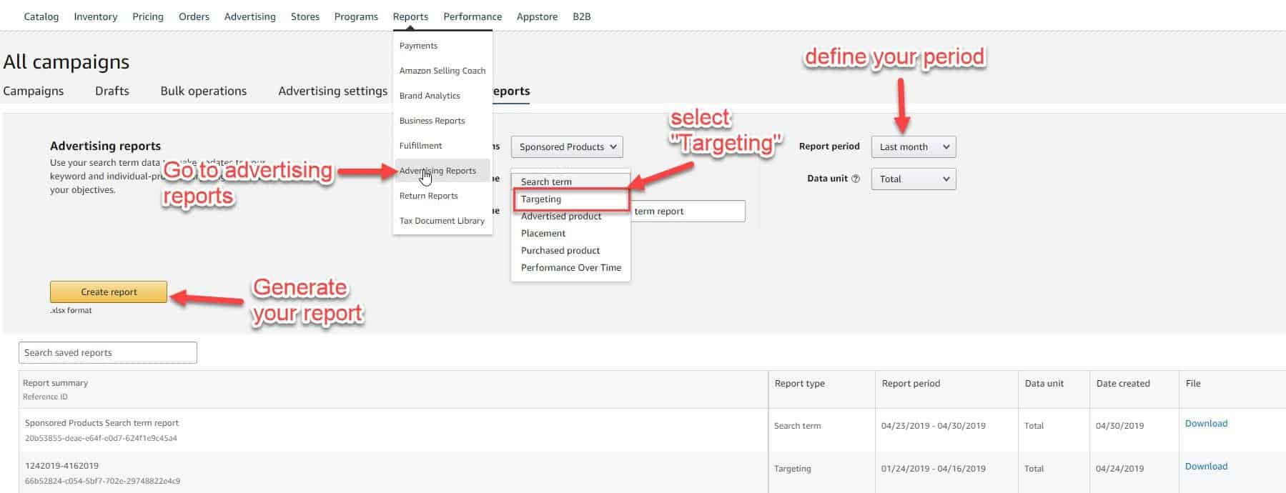 how to download PPC keyword targeting report from seller central