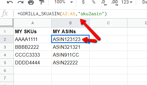 sku to Amazon ASIN - Step 2